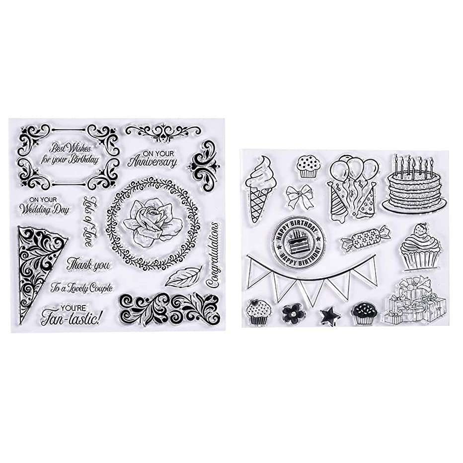 MaGuo Cake Balloon Rubber Clear Stamp for Birthdays Greeting Card Decoration and Scrapbooking