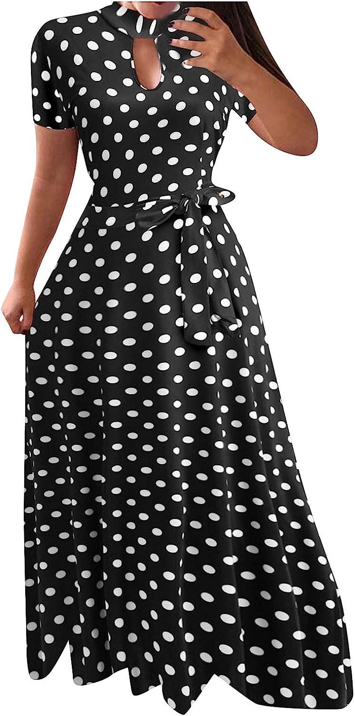 ORT Women's Sexy V Neck Dress Polka Dot Print High Split Maxi Dress Summer Casual Sleeveless Beach Boho Vintage Sundresses
