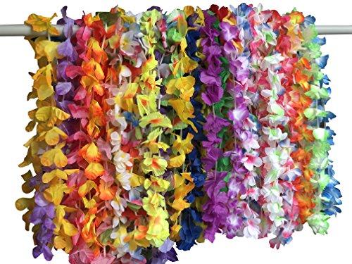 YEENI 36 collares hawaianos de Luau Leis – flores de hibisco tropicales Tiki verano piscina fiesta regalos suministros decoraciones