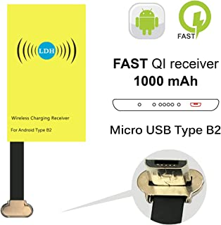 Qi Wireless Charging Receiver, LDH 2.0 Wireless Charger Receiving Module for Samsung xiaomi Huawei Sony HTC one 802t HTC Desire 830 828 728 D728w 626 D626w Micro USB Android Phone Adapter Type B2