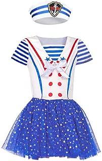 Child Sailor Girl Fancy Dress Cutie Captain Navy Sailor Costume Nautical Outfit