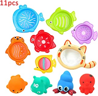 Anniston Kids Toys, 11Pcs Colorful Animal Bathroom Shower Stacking Cup Kids Baby Bath Water Play Toy Stress Relief Toys Pe...