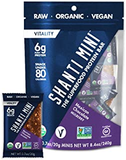 SHANTI BAR Vegan Organic Superfood Mini Protein Bar | 6g Plant Based Protein | Raw Gluten Free Snack Bars | Performance Nutrition | Mexican Chocolate Mulberry, 12 Count