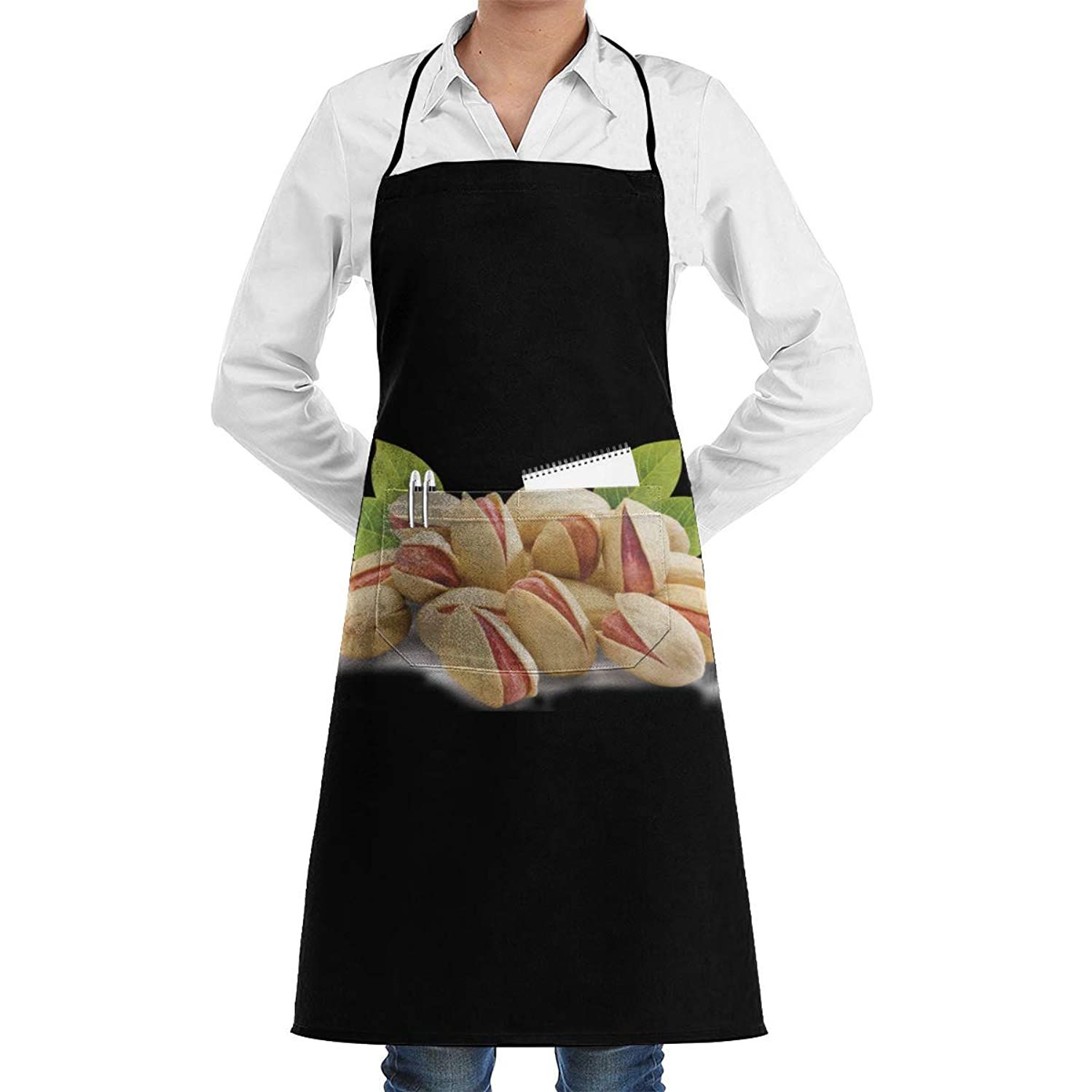 sretinez Adjustable Pistachio Printed Kitchen Bib Apron Chef's Aprons with Pockets for Women Men
