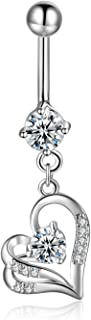 Dangling Heart Belly Button Rings Surgical Steel 14G CZ Navel Rings Dangle Belly Piercing Jewelry