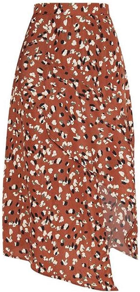 Women Leopard Print Vintage Long Casual High Waist Pleated Skirt