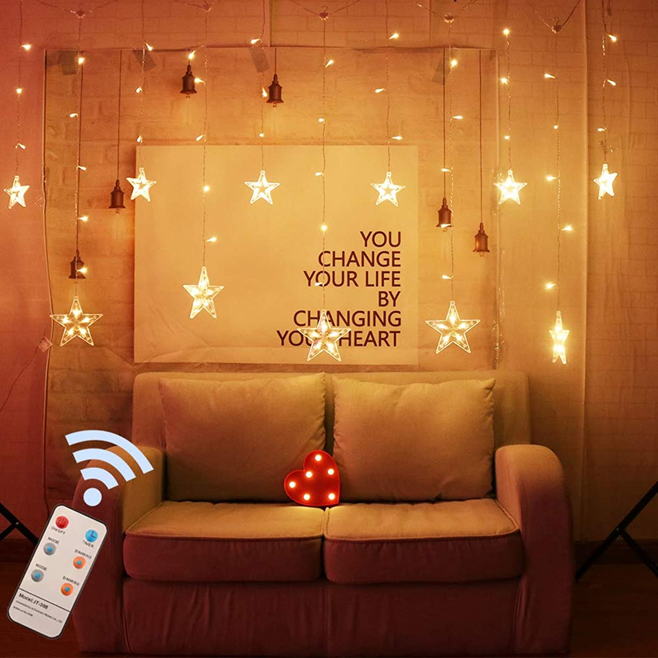 Obrecis 12-Stars Curtain Lights 108 LED 8 Modes Twinkle Star String Window Lights, Remote Control Icicle Fairy Light for Wedding Party Home Christmas Decorations-7.2ft x 3.2ft/1.7ft(Warm White)