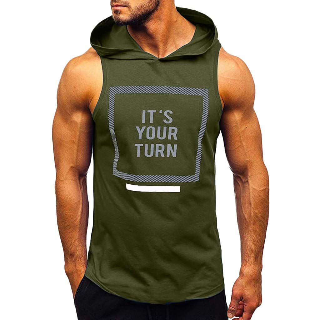 IZHH Mens Running Tank Top Sleeveless Shirt Sports Plain Tank Top Hoodie Fitness Pullover Summer Sweatshirt Breathable Fitness Vest