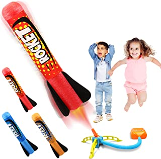 Duckura Jump Rocket Launchers for Kids, Outdoor Play with 3 Rockets, Toy Gift for Boys Girls Toddlers 3 4 5 6 Years Old