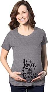Maternity In Love With My Bump Tshirt Cute Baby Announcement Graphic Novelty Pregnancy Tee (Dark Heather Grey) - S