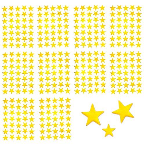 Oblique Unique® 350 x Sterne Sticker Aufkleber in Gold oder Silber - wählbar (Gold)