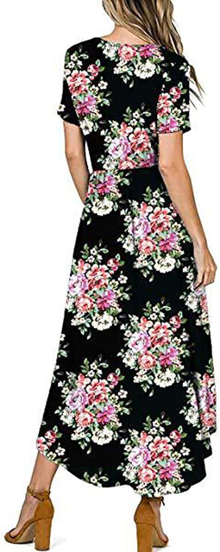 Summer Dress for Women -Ladies Summer Solid Short-Sleeved V-Neck Print Split Sexy Slim Long Dress Casual Beach Dress