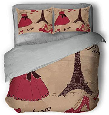 """Mademai Heels and Dresses Three-Piece College Style Paris Boutique French Retro Dress Shoes Eiffel Tower Light Comforter Queen 89""""x89""""inch Dark Brown Pink Pale Salmon"""
