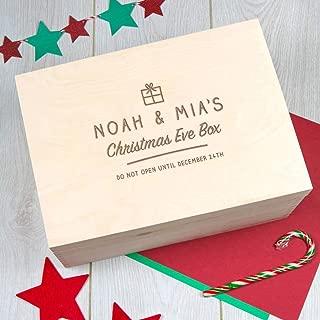 Personalized Christmas Eve Gift Box - Xmas Santa Box for Kids - Wooden Keepsake Storage with Lid - Holiday Decor