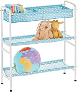 mDesign étagère pour Chambre d'enfant – étagère de Rangement compacte à 3 Niveaux en métal et Fibres synthétiques – Meuble...