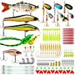 CharmYee Fishing Lures Set Including Segmented Lures Spinnerbaits Frog Lures Soft Fishing Lure Hard Metal Lure VIB Rattle Crank Popper Minnow Pencil Metal Jig Hook for Trout Bass Salmon