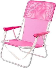 LOLAhome Silla de Playa Fija de Aluminio y Textileno (Rosa)