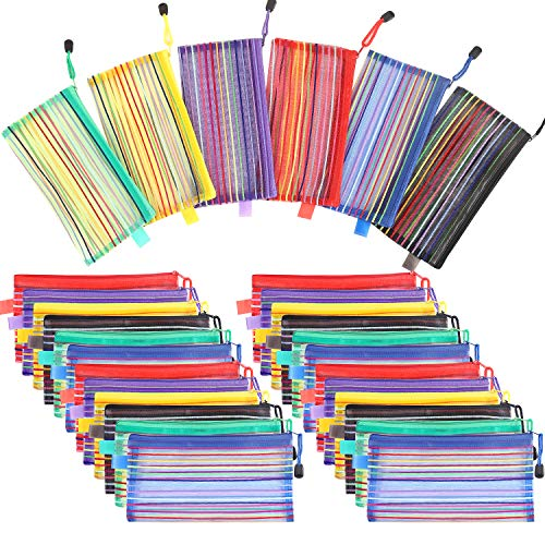 Catsayer 30 Pack A6 Zipper Mesh Pouch, Pencil Pouch.Pen Bag.Multipurpose Travel Bags for Office Supplies Cosmetics Travel Accessories Multicolor