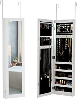 Giantex Jewelry Cabinet Armoire Door Wall Mounted, with 12 Auto-On LED Full Length Mirror 5 Shelves for Display Bracelets Hanging Organizer Mirrored Storage Jewelry Cabinets, White (Upgraded Lights)