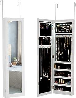 DREAMADE Armoire à Bijoux avec LED, Organisateur de Bijoux avec Miroir Pleine Longueur, Armoire de Rangement Accrochée à l...