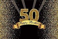 HD 7x5ftハッピーバースデーの背景ポリエステルキラキラゴールドと黒の写真スタジオブースの背景大人ハッピー50歳の誕生日パーティーの装飾バナーの背景写真用しわなし