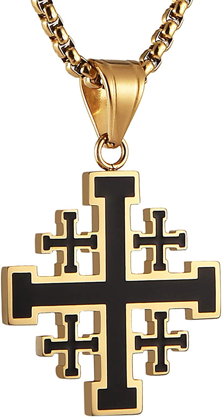 HZMAN Mens Stainless Steel Crusader Jerusalem Cross Pendant Necklace with 22+2 Inches Chain