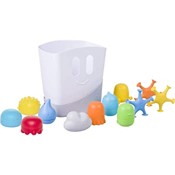 Ubbi Baby Bath Toy Gift Set, Includes Toy Drying Bin and 11 Bath Toys, Dishwasher Safe, Bath Time, Baby Essential Gift