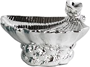 Urban Trends Ceramic Open Valve Clam Seashell with Conch Shell Ornament on Conch Shell Base in Polished Chrome Finish, Silver
