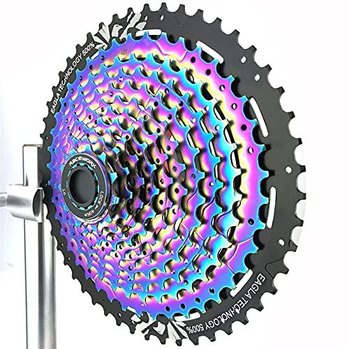 Volante Bicicleta de montaña 11 Cassette de Velocidad 11-50T Arco Iris MTB Bicycle 11V Flywheel Sprocket para s.h.i.m.a.n.o XT M8000 Accesorios de Ciclismo (Color : 11 Speed 11-50T)
