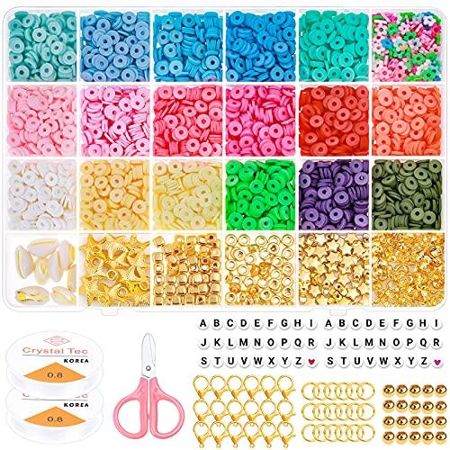 Cuentas de arcilla para pulseras, 4500 unidades, planas, redondas, con 250 cuentas de letras, 200 cuentas doradas, perlas de polímero Heishi de 6 mm para manualidades, pendientes, kit de construcción