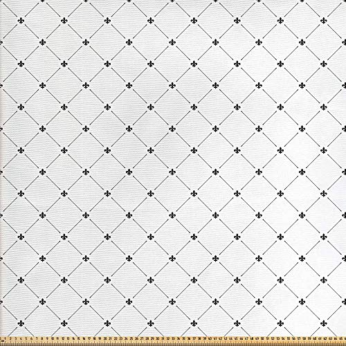 ABAKUHAUS Flor de Lis Tela por Metro, Patrón Damasco Estilo Shabby Chic Formas Geométricas Diamante Vintage Kitsch, Decorativa para Tapicería y Textiles del Hogar, 1M (148x100cm), Blanco