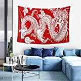 PNNUO White Chinese Dragon Tapestry,Tapestry Wall Hanging For Bedroom Living Room Decoration Indie Dorm College