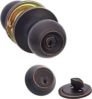 AmazonBasics Entry Door Knob With Lock and Deadbolt, Standard Ball, Oil Rubbed Bronze