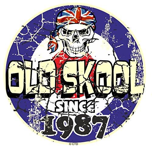 Effet vieilli vieilli vintage style rétro Old Skool depuis 1987 mod RAF Motif cible et crâne vinyle Sticker Autocollant Voiture ou scooter 80 x 80 mm