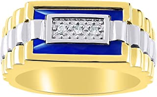 Mens Diamond & Onyx Ring set in Yellow Gold Plated Silver. Blue Onyx/Agate / Quartz Special Cut for this Ring. Designer Style