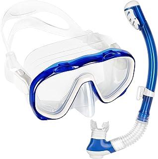 comprar comparacion Flyboo Máscara y Snorkel,Set de Esnórquel Gafas de Buceo Panorámicas Antivaho de Vidrio Templado, Equipo de Esnórquel Anti...