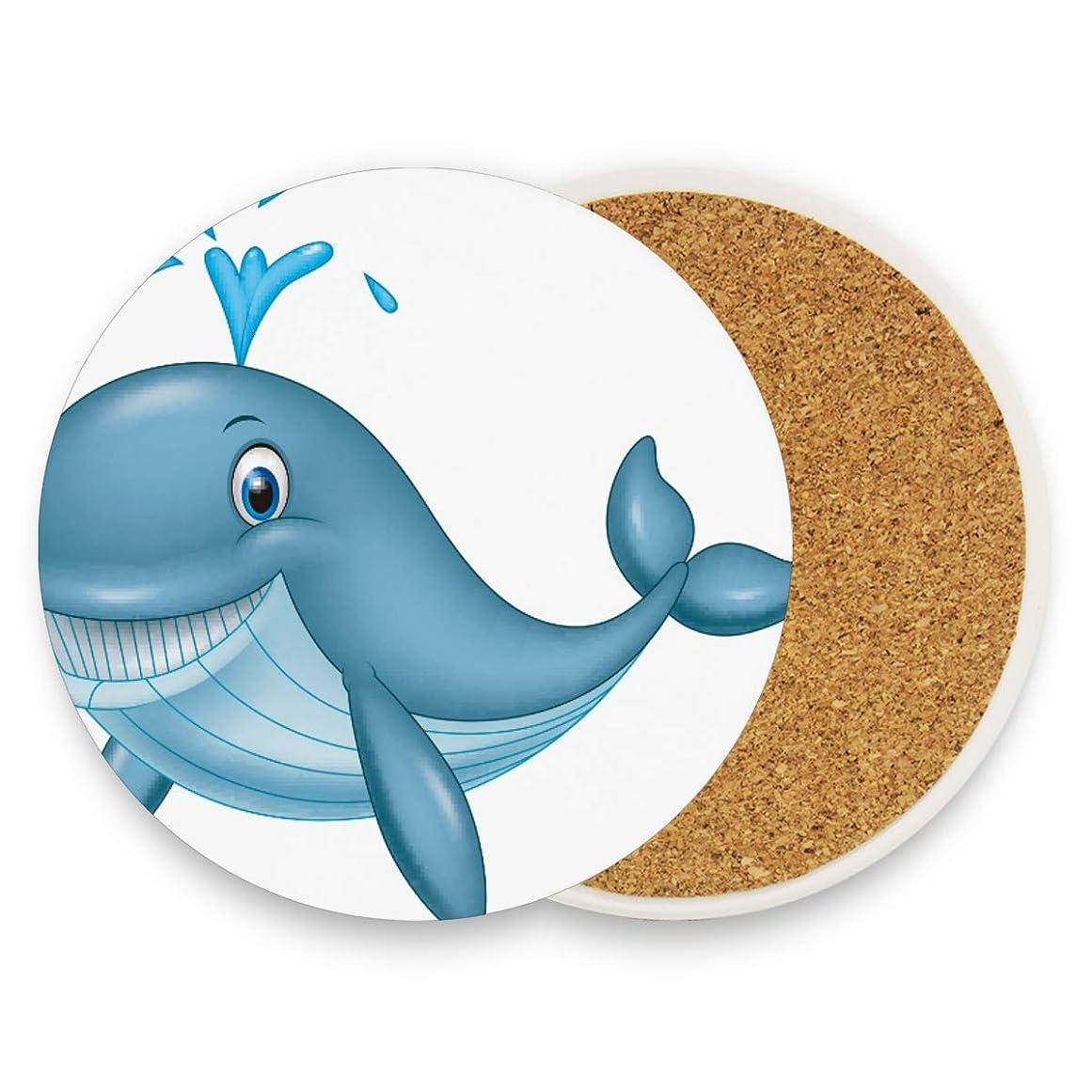 ご覧ください時計回り放つコースター エコ素材 防水 クジラ 微笑み 面白い 円形 一枚セット 断熱パッド 優れた耐熱性 高耐久性 滑り止め 速乾 コップ敷き 飲茶 飲コーヒー キッチン オフィス 喫茶店