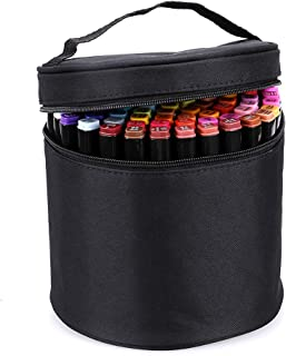 BTSKY Multifunction Marker Case - Zippered Canvas Pen Bag Pencil Case Stationary Storage for 80 Markers, Black (NO Compartments Inside)