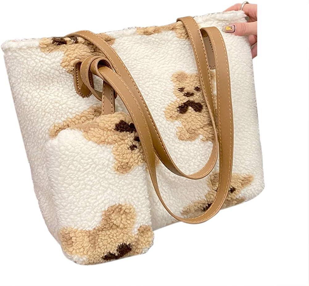 Belsmi Totes Bag + Small Handbag Bear Fluffy Plush Faux Fur Winter Soft Warm Messenger Fuzzy Handbag Shoulder Work Bag