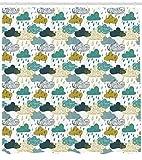 ABAKUHAUS Herbst Duschvorhang, Rainy Wolken Grunge Icon, Moderner Digitaldruck mit 12 Haken auf Stoff Wasser & Bakterie Resistent, 175 x 200 cm, Blauer Senf