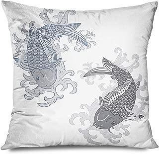 Ahawoso Throw Pillow Cover Decorative Square 18x18 Blue Chinese Japanese Koi Carp Fish Nature Oriental Tattoo Luck Water Wave Animal Hand Japan Asia Zippered Pillowcase Home Decor Cushion Case