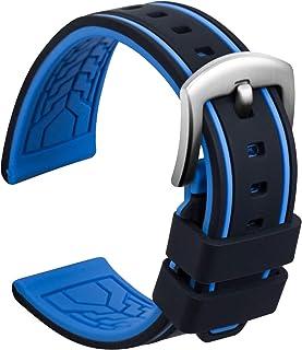 Ullchro Bracelet Montre Remplacer Silicone Bracelet Montre Bicolore - 20, 22, 24, 26mm Caoutchouc Montre Bracelet avec Aci...