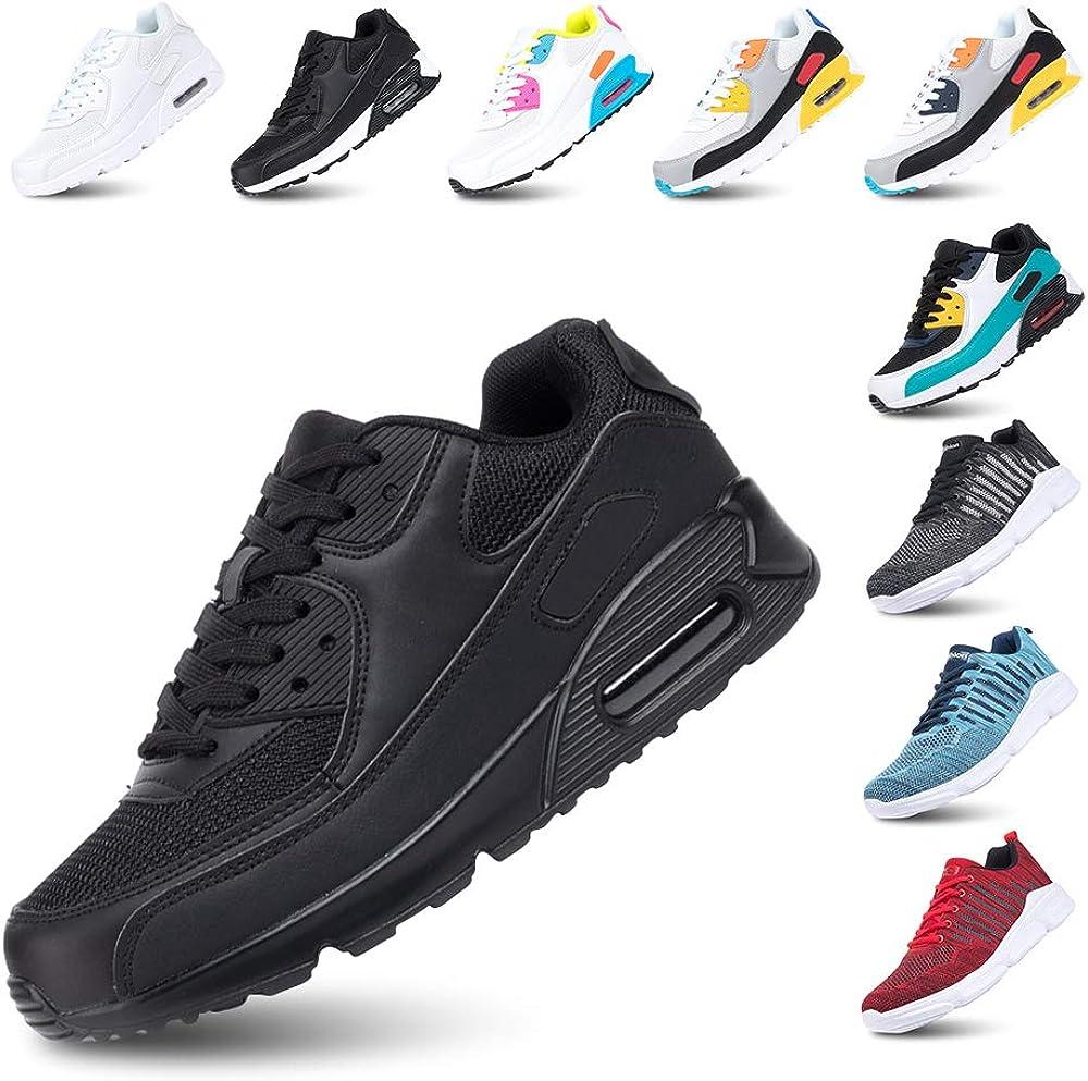 Zapatillas de Deportivas para Mujeres Zapatillas Correr Hombre Sneakers Cordones Plataforma Running Gimnasia Ligero Respirable Negro Azul Gris Rosa Blanco EU36-EU47