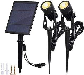 Solar Panel Outdoor Spotlight Automatic Waterproof Landscape Lamp Garden Patio Lighting Accessories, Warm Light, 3000K