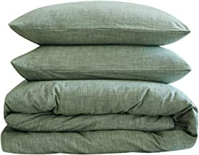 BFS HOME Stonewashed Cotton/Linen Duvet Cover King, 3-Piece Comforter Cover Set, Breathable and Skin-Friendly Bedding Set ...