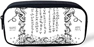 Occult Decor Multifunctional Pencil Bag,Gothic Medieval Magic and Spell Symbols Eternal Life Ritual Chart Art Theme for Birthday Festival,8
