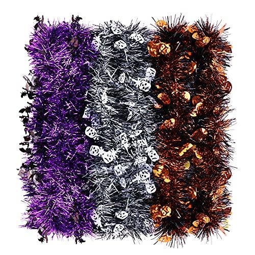 Gukasxi Guirnalda de espumillón de 198 cm, color naranja, morado, plateado, con purpurina metálica, para celebrar una fiesta de Halloween, decoración para colgar en el techo,...