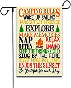 Camping Rules Slogan Wood Garden Flag Funny Camping Signs Family Rucksack Fire Yard Farmhouse Garden Flags Rustic Country Decor Yard Decor Outdoor Decor Double Sided Flax Garden Flag 12