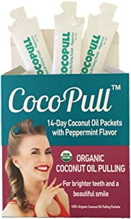 Oil Pulling Mouthwash with Organic Coconut Oil - Natural Teeth Whitening in 14 Unrefined Coconut Oil Pulling Packets With Organic Peppermint Oil - Healthy Teeth and Gums and Bad Breath Remedy