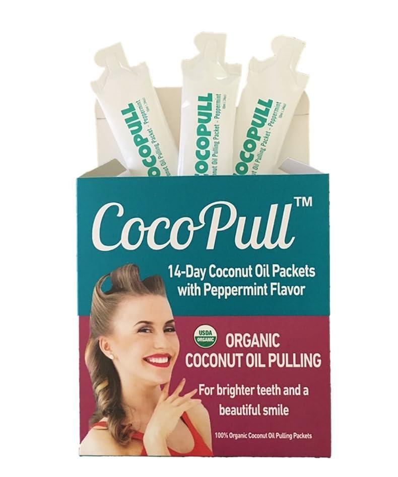 吸収剤解決生むAVIVA PURE CocoPull Organic ココナッツオイル Pulling Natural Teeth Whitener 14pack
